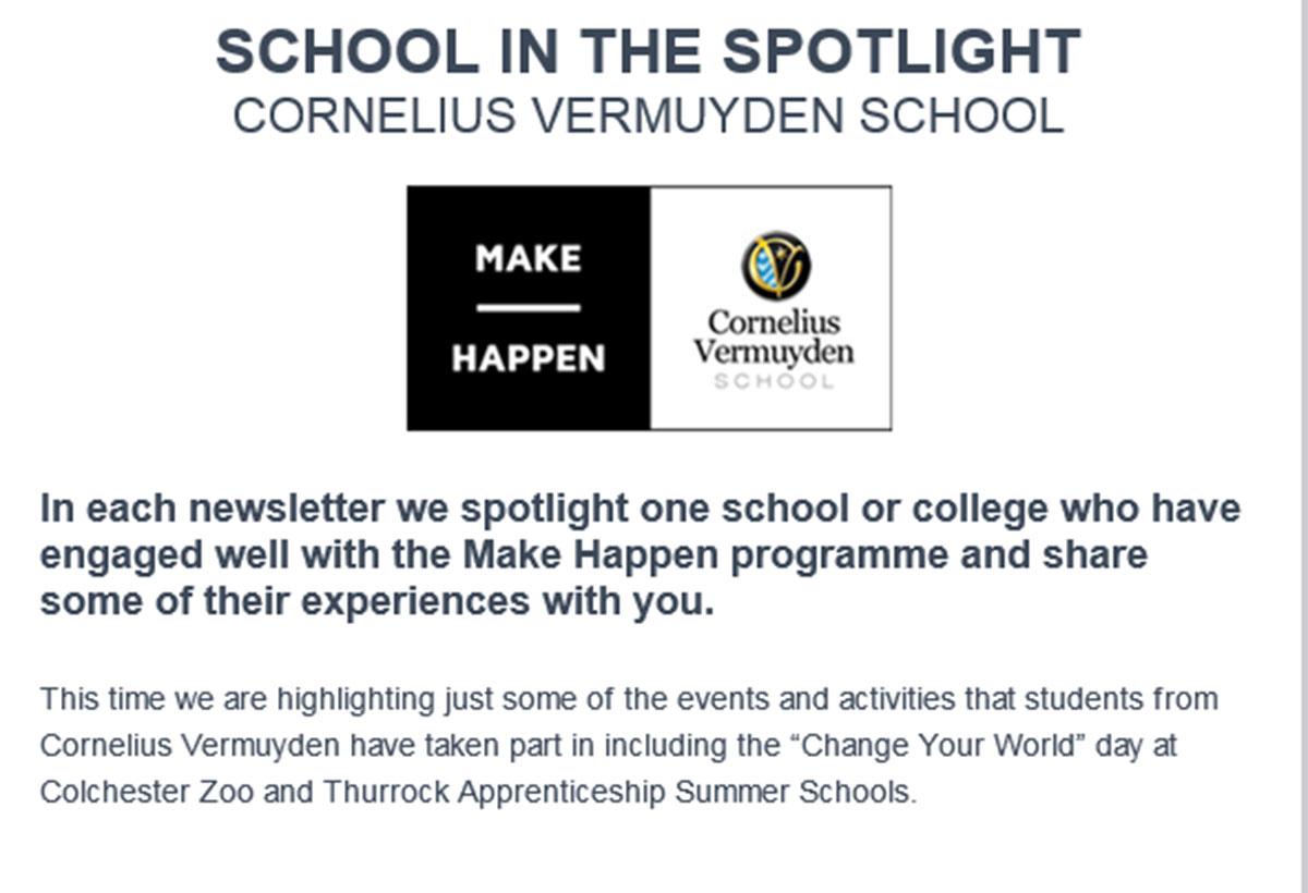 Cornelius Vermuyden featured in Make Happen newsletter